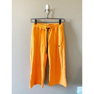 NWT Koral Orange Cropped Wide Leg Sweatpants